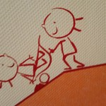 Strichmännchen als Sockelbekleidung Kindergarten